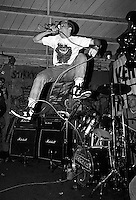 Christopher Jones, vocalist for the punk band Verbal Assault, performing at the Gilman Street club, Berkeley, California, 1987.