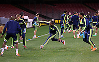 Wednesday 26 February 2014<br /> Pictured: Ashley Williams in training.<br /> Re: Swansea City FC press conference and training at San Paolo in Naples Italy for their UEFA Europa League game against Napoli.