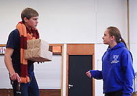 "The fawn, ""Mr Tumnus"", and ""Lucy"".  The Yvonne Arnaud Youth Theatre rehearsing ""The Lion, the Witch and the Wardrobe"", Guildford, Surrey."