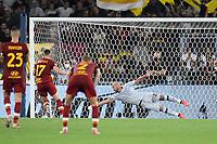 26th September 2021;  Stadio Olimpico, Rome, Italy; Italian Serie A football, SS Lazio versus AS Roma; Jordan Veretout of AS roma scores the penalty kick goal for 3-2 in minute 70