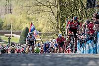 Greg Van Avermaet (BEL/BMC) accelerates up the Kemmelberg cobbles &  Peter Sagan (SVK/Bora-Hansgrohe) tries to jump to his wheel<br /> <br /> 79th Gent-Wevelgem 2017 (1.UWT)<br /> 1day race: Deinze › Wevelgem - BEL (249km)