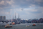 The Blue Angels fly over the 2012 annual July 4th turnaround cruise of the USS Constitution, Boston, Massachusetts, USA