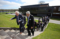 Pictured: Richard B Davies (2nd L) walks to one of the pitches Tuesday 04 April 2017<br />Re: Official opening of the Fairwood Training Complex of Swansea City FC, Wales, UK