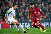 LIVERPOOL, GREAT BRITAN - NOVEMBER 5 : Alex Oxlade Chamberlain midfielder of Liverpool battles for the ball with Sebastien Dewaest defender of Genk during the UEFA Champions League match between Liverpool FC and KRC Genk on November 05, 2019 in Liverpool, Great Britan, 5/11/2019 <br /> Liverpool 5-11-2019 Anfield <br /> Liverpool - Genk <br /> Champions League 2019/2020<br /> Foto Photonews / Panoramic / Insidefoto <br /> Italy Only