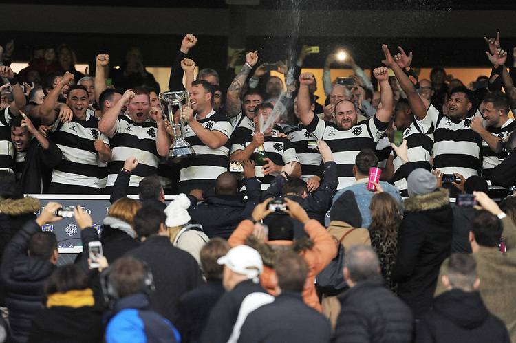 The Barbarians celebrate winning the Killik Cup match between the Barbarians and Argentina at Twickenham Stadium on Saturday 1st December 2018 (Photo by Rob Munro/Stewart Communications)