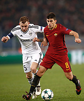 Football Soccer: UEFA Champions League AS Roma vs Qarabag FK Stadio Olimpico Rome, Italy, December 5, 2017. <br /> Roma's Diego Perotti (r) in action with Qarabag's captain Maksim Medvedev (l) during the Uefa Champions League football soccer match between AS Roma and Qarabag FK at at Rome's Olympic stadium, December 05, 2017.<br /> UPDATE IMAGES PRESS/Isabella Bonotto