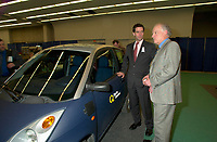 March 20 2003, Montreal, Quebec, Canada<br /> <br /> Andre Boisclair , Quebec Environment Minister (L) and Andre Caille, President and CEO, Hydro Quebec (Quebec Provincial provider of Electricity)(R) present it's Electric Car at Americana, a 3 days <br /> conference & trade show on environement and waste management organized by Reseau Environnement, March 20 2003 in Montreal, Canada.<br /> <br /> Electric cars fits into Quebec and Canada's pledge to conform to Kyoto Protocol by reducing pollution.<br /> <br /> Mandatory Credit: Photo by Pierre Roussel- Images Distribution. (©) Copyright 2003 by Pierre Roussel <br /> <br /> NOTE : <br />  Nikon D-1 jpeg opened with Qimage icc profile, saved in Adobe 1998 RGB<br /> .Uncompressed  Original  size  file availble on request.