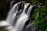 Beautiful Rochester Falls landscape with blurred, long-exposure water, near Surinam, in the jungle of Mauritius Island, Africa