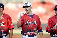 Dylan Cease (28) of the Winston-Salem Dash during player introductions prior to the start of the 2018 Carolina League All-Star Classic at Five County Stadium on June 19, 2018 in Zebulon, North Carolina. The South All-Stars defeated the North All-Stars 7-6.  (Brian Westerholt/Four Seam Images)