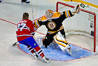 24 January 2009: Boston Bruins goaltender Tim Thomas stops Montreal Canadiens right wing forward Alexei Kovalev in the second round of the Elimination Shootout of the NHL SuperSkills Competition, during the All-Star Weekend at the Bell Centre in Montreal, Quebec, Canada. ***** Editorial Sales Only ***** Mandatory Photo Credit: Ed Wolfstein Photo