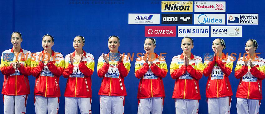 Podium<br /> Silver Medal<br /> CHN - People's Republic of China<br /> GU Xiao GUO Li<br /> LI Xiaolu LIANG Xinping<br /> SUN Wenyan TANG Mengni<br /> YIN Chengxin ZENG Zhen<br /> Team Free Final<br /> Day8 10/07/2015<br /> XVI FINA World Championships Aquatics<br /> Synchro<br /> Kazan Tatarstan RUS July 24 - Aug. 9 2015 <br /> Photo Pasquale Mesiano/Deepbluemedia/Insidefoto