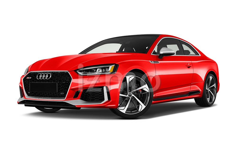 Stock pictures of low aggressive front three quarter view of a 2019 Audi RS5 4WD 2 Door Coupe