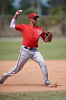 Washington Nationals Alex Santana (11) throws to first base during practice before a minor league Spring Training game against the St. Louis Cardinals on March 27, 2017 at the Roger Dean Stadium Complex in Jupiter, Florida.  (Mike Janes/Four Seam Images)
