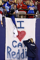 """Cat Reddick signs autographs after the game. The US Women's National Team tied the Denmark Women's National Team 1 to 1 during game 8 of the 10 game the """"Fan Celebration Tour"""" at Giant's Stadium, East Rutherford, NJ, on Wednesday, November 3, 2004.."""