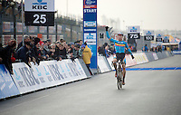 Men U23 race winner Laurens Sweeck (BEL/Corendon-Kwadro) about to cross the finish line<br /> <br /> Zolder CX UCI World Cup 2014