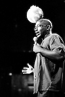 """Comedian Hannibal Buress performs at the """"Too Cool for School"""" show at Coco 66 in Brooklyn, NY, on July 3, 2009."""