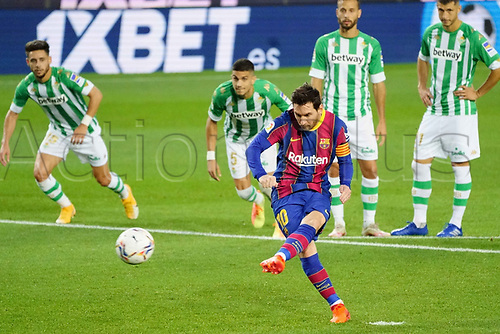 7th November 2020; Camp Nou, Barcelona, Catalonia, Spain; La Liga Football, Barcelona versus Real Betis;  Leo Messi scores from a penalty kick for 3-1 in the 62md minute