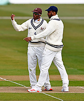 Kent captain Daniel Bell-Drummond (L) in discussion with Miguel Cummins during Kent CCC vs Yorkshire CCC, LV Insurance County Championship Group 3 Cricket at The Spitfire Ground on 15th April 2021