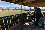 Rushall Olympic 1 Workingon 0, 17/02/2018. Dales Lane, Northern Premier League Premier Division. The team from BBC Radio Cumbria set up their equipment in the press box. Photo by Paul Thompson. Rushall Olympic 1 Workingon 0, Northern Premier League Premier Division, 17th February 2018. Rushall is a former mining village now part of the northern suburbs of Walsall.
