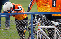 13 SEP 2014 - IPSWICH, GBR - Ricki Johnson from Wednesfield Aces waits for his next race during the first semi final of the 2014 British Open Club Cycle Speedway Championships at Whitton Sports & Community Centre in Ipswich, Great Britain (PHOTO COPYRIGHT © 2014 NIGEL FARROW, ALL RIGHTS RESERVED)