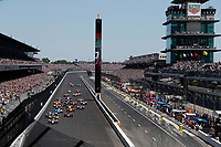 30th May 2021, Indianapolis, Indiana, USA;  NTT Indy Car Series driver Scott Dixon (9) leads the field for the start of the 105th running of the Indianapolis 500 on May 30, 2021 at the Indianapolis Motor Speedway in Indianapolis, Indiana.
