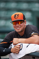 GCL Orioles Alejandro Juvier (16) during the second game of a doubleheader against the GCL Rays on August 1, 2015 at the Ed Smith Stadium in Sarasota, Florida.  GCL Orioles defeated the GCL Rays 11-4.  (Mike Janes/Four Seam Images)