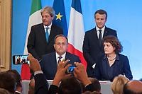 PAOLO GENTILONI ET EMMANUEL MACRON - RATIFICATION D ACCORD - 34EME SOMMET FRANCO-ITALIEN A LYON
