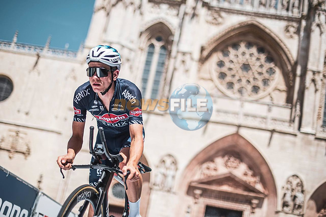 Alpecin-Fenix riders recon Stage 1 of La Vuelta d'Espana 2021, a 7.1km individual time trial around Burgos, Spain. 14th August 2021. <br /> Picture: Unipublic/Charly Lopez   Cyclefile<br /> <br /> All photos usage must carry mandatory copyright credit (© Cyclefile   Unipublic/Charly Lopez)