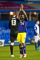 Saturday 25 January 2014<br /> Pictured: Roland Lamah  applauds the Swansea City Fans <br /> Re: Birmingham City v Swansea City FA Cup fourth round match at St. Andrew's Birimingham