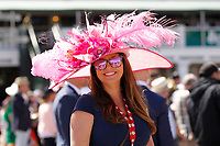 1st May 2021; Kentucky, USA;  A fan displays her fancy hat while attending the 147th running of the Kentucky Derby on May 01st, 2021 at Churchill Downs in Louisville,  Kentucky, USA.
