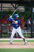 GCL Blue Jays shortstop Leonardo Jimenez (17) at bat during a game against the GCL Phillies West on August 7, 2018 at Bobby Mattick Complex in Dunedin, Florida.  GCL Blue Jays defeated GCL Phillies West 11-5.  (Mike Janes/Four Seam Images)