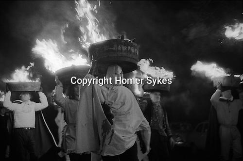 Allendale Tar Barrel Parade, Northumberland, England Dec 31st 1972.