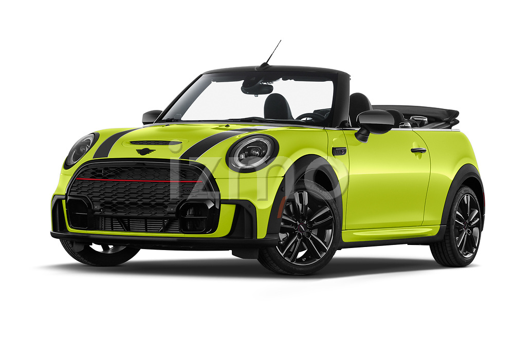 Stock pictures of low aggressive front three quarter view of 2022 MINI Cooper-Convertible John-Cooper-Works-Signature 2 Door Convertible Low Aggressive