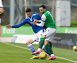 St Johnstone v Hibs……23.08.20   McDiarmid Park  SPFL<br />Scott Tanser tackles Drey Wright<br />Picture by Graeme Hart.<br />Copyright Perthshire Picture Agency<br />Tel: 01738 623350  Mobile: 07990 594431