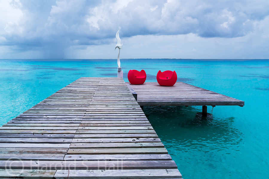 A pier on the French Island of Fakarava in French Polynesia.