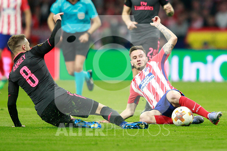 Atletico de Madrid's Saul Niguez (r) and Arsenal FC's Aaron Ramsey during Europa League Semi-finals, 2ndt leg. May 3,2018. (ALTERPHOTOS/Acero)