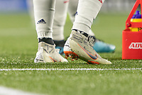 Portland, Oregon - Wednesday September 25, 2019: Inspirational words and names on Diego Fagundez' footwear during a regular season game between Portland Timbers and New England Revolution at Providence Park on September 25, 2019 in Portland, Oregon.