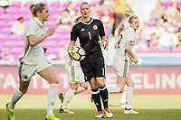 Orlando City, FL - Wednesday March 07, 2018: Almuth Schult during a 2018 SheBelieves Cup match between the women's national teams of Germany (GER) and France (FRA) at Orlando City Stadium.