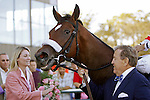 02 OCT 2010: Havre de Grace enters the winner's circle, accompanied by owner Rick Porter, after her victory in the Gr. II Cotillion Stakes at Parx Racing at Philadelphia Park, Bensalem, PA. (Joan Fairman Kanes/Eclipse Sportswire)