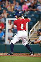 Fort Myers Miracle outfielder Jason Kanzler (8) at bat during a game against the Daytona Tortugas on June 17, 2015 at Hammond Stadium in Fort Myers, Florida.  Fort Myers defeated Daytona 9-5.  (Mike Janes/Four Seam Images)