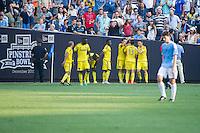 BRONX, NY - Saturday August 29, 2015: New York City FC loses 1-2 to the Columbus Crew at home at Yankee Stadium during the 2015 MLS regular season.