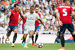 Danilo Luiz da Silva of Real Madrid fights for the ball with Unai Garcia of Osasuna during the La Liga match between Real Madrid and Osasuna at the Santiago Bernabeu Stadium on 10 September 2016 in Madrid, Spain. Photo by Diego Gonzalez Souto / Power Sport Images