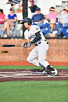 Pulaski Yankees third baseman Nelson Gomez (14) swings at a pitch during a game against the Johnson City Cardinals at TVA Credit Union Ballpark on July 7, 2018 in Johnson City, Tennessee. The Cardinals defeated the Yankees 7-3. (Tony Farlow/Four Seam Images)