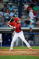 Williamsport Crosscutters third baseman Cole Stobbe (7) at bat during a game against the Mahoning Valley Scrappers on July 8, 2017 at BB&T Ballpark at Historic Bowman Field in Williamsport, Pennsylvania.  Williamsport defeated Mahoning Valley 6-1.  (Mike Janes/Four Seam Images)