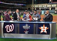 HOUSTON - OCTOBER 30: Kevin Burkhardt, Alex Rodriguez, David Ortiz, and Frank Thomas talk with Juan Soto following World Series Game 7: Washington Nationals at Houston Astros on Fox Sports at Minute Maid Park on October 30, 2019 in Houston, Texas. (Photo by Frank Micelotta/Fox Sports/PictureGroup)