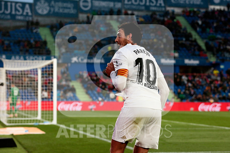 Valencia CF's Daniel Parejo celebrates goal during La Liga match between Getafe CF and Valencia CF at Coliseum Alfonso Perez in Getafe, Spain. November 10, 2018.