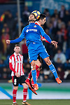 Markel Bergara Larranaga of Getafe CF (front) fights for the ball with Sabin Merino Zuloaga of Athletic Club de Bilbao (back) during the La Liga 2017-18 match between Getafe CF and Athletic Club at Coliseum Alfonso Perez on 19 January 2018 in Madrid, Spain. Photo by Diego Gonzalez / Power Sport Images