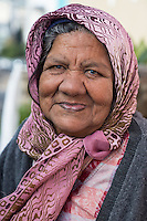 South Africa, Cape Town, Bo-kaap.  Old Woman, keeper of the key to the Bourhaanol Mosque.