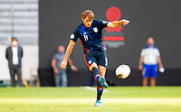 GUADALAJARA, MEXICO - MARCH 28: Tanner Tessmann #11 of the United States sends a ball downfield during a game between Honduras and USMNT U-23 at Estadio Jalisco on March 28, 2021 in Guadalajara, Mexico.