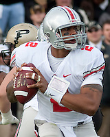 Ohio State quarterback Terrelle Pryor. The Purdue Boilermakers defeated the Ohio State Buckeyes 26-18 at Ross-Ade Stadium, West Lafayette, Indiana on October 17, 2009..